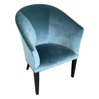 turquoise blue velvet barrel asymmetrical chair
