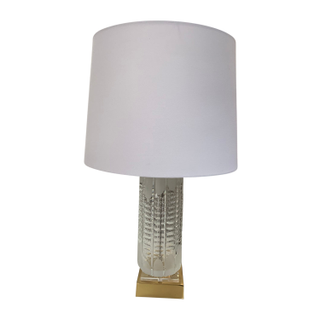 Vintage Crystal Glass Lamp, Squared Brass Base