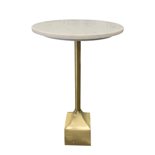 marble drink table with gold metal base
