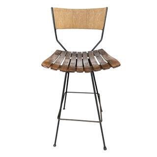 Arthur Umanoff Style Slat Wood Bar Stools Midcentury wicker iron counter stool