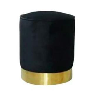 Black and brass ottoman stool