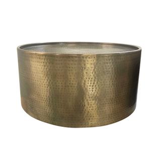 hammered brass drum table