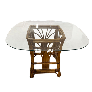 Bamboo Rattan Base Dining Table with Glass top