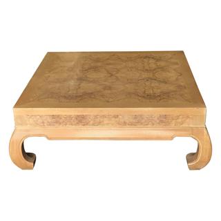 Ornate Burled Wood Low Coffee Table Square light wood