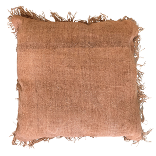Woven Rust Pillow with Fringe