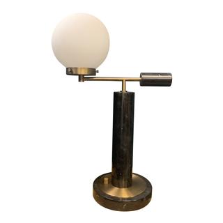 Black Marble Globe Lamp, brass