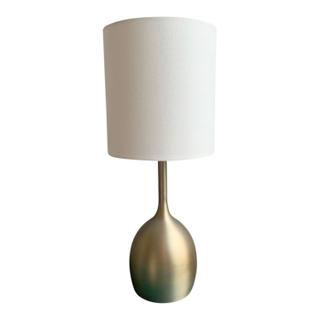 Modern Brass Table Lamp with White Drum Style Shade