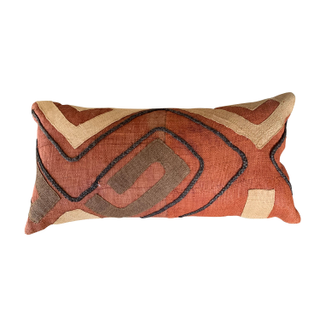 Rust Red pillow with abstract lines
