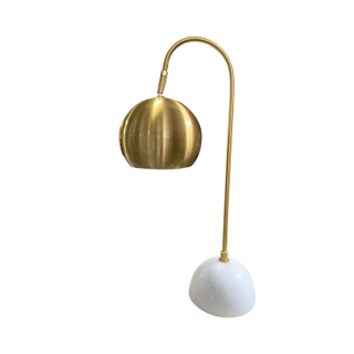 Brass Table Lamp, Curved base, Marble.