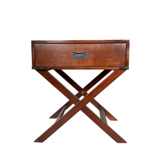 Campaign Style Cherry Wood X Nightstand