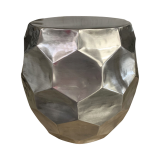 silver metal side table garden stool