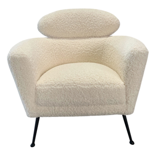 Sherling/Boucle Panel chairs, matte black legs.