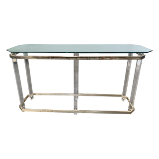 lucite brass glass top vintage console table lucite