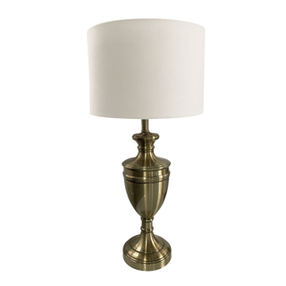 Vintage Brass Table Lamp, White Shade.