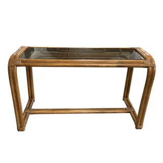 bamboo rattan smoked glass console table vintage