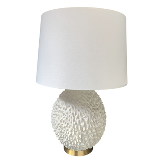 Oversized Table Lamp, Spiked round base with brass accents.