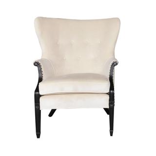 vintage ivory velvet wedding wing chair