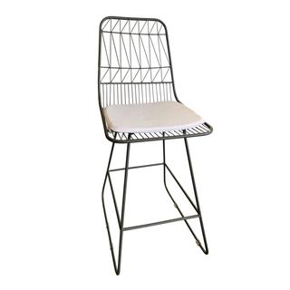 geometric bar stool chairs with white cushion