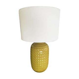 Chartreuse Ceramic Lamp dot detailing, white shade