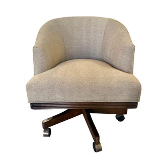 Barrel Rolling Desk Chair, Sand Colored Upholstery.