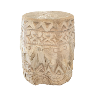 Carved, Bleached Wood Stool, small wooden