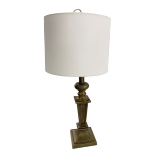 Traditional Vintage Brass Table Lamp, White Barrel Shade