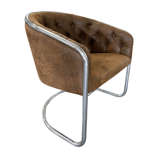 Midcentury chrom and leather barrel chair