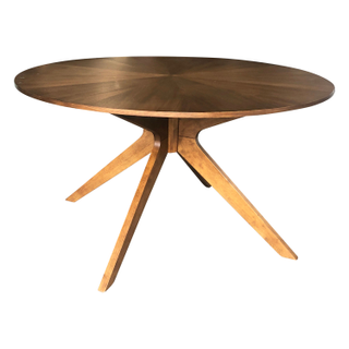 round wooden mid century wood dining table x base