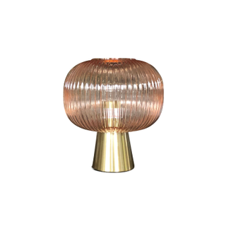 Pink Glass Mid Century Table Lamp