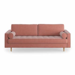 pink velvet mid-century sofa