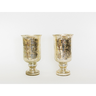 two tall mercury glass vases