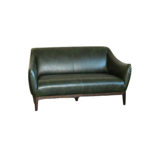 green leather settee