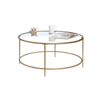 round gold and glass coffee table