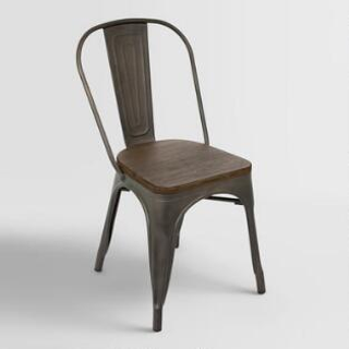 metal chair with wood seat