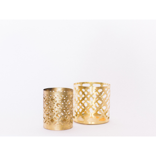 two gold candle holders
