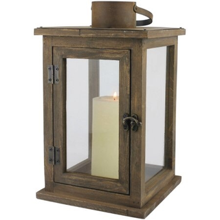 square wooden lantern with candle inside