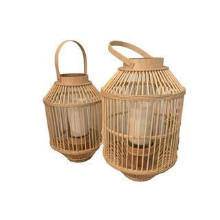 two light rattan lanterns