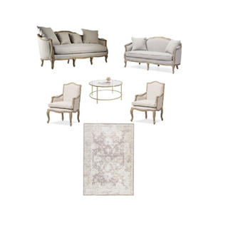 Linen sofa, linen loveseat, two linen chairs, gold round table, and neutral rug