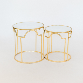 gold tables with mirror top