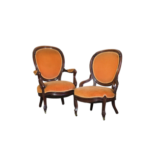 vintage orange velvet chairs with wood trim