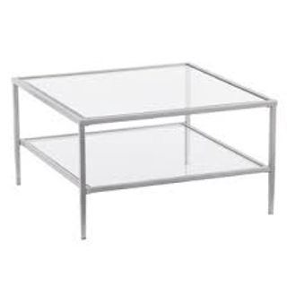 square silver and glass coffee table