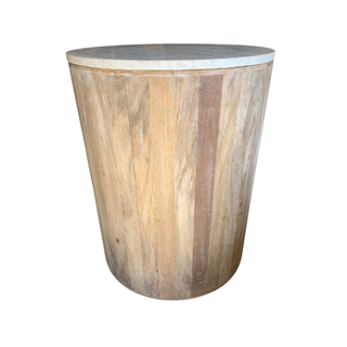 wood and marble end table