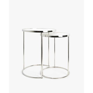 two silver and mirror end tables
