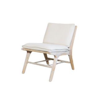 low linen chair with light wood body frame