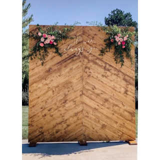 wooden wall with florals on top