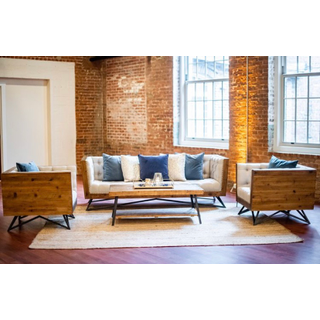Linen industrial sofa with two industrial linen chairs