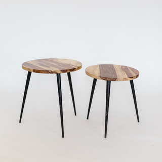 wood end tables with black legs