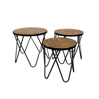 set of three wood and black end tables