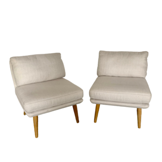 two mid-century modern linen chairs