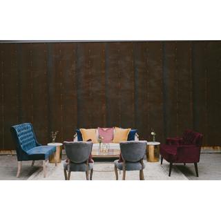 Linen sofa with blue velvet settee, burgundy velvet settee, and two gray velvet chairs